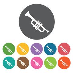 Trumpet icon. Music equipment icon set. Round colourful 12 butto