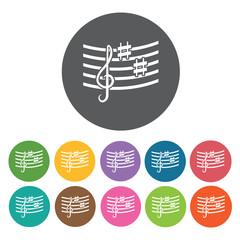 G-clef and sharps on staff icon. Music equipment icon set. Round