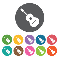 Guitar icon. Music equipment icon set. Round colourful 12 button
