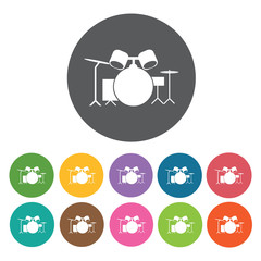 Drum set icon. Music equipment icon set. Round colourful 12 butt