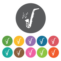 Saxophone icon. Music equipment icon set. Round colourful 12 but
