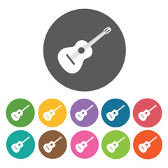 Acoustic guitar icon. Music equipment icon set. Round colourful