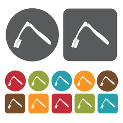 Folding toothbrush icon. Toothbrushes icons set. Round and recta
