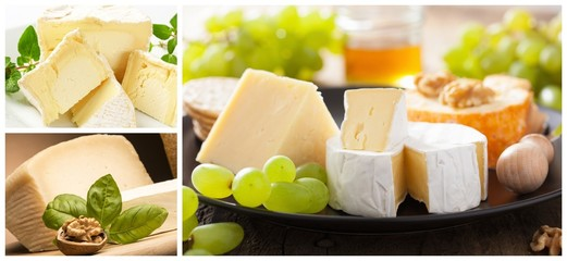 Collage with different types of cheese and grapes