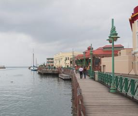 Embankment along harbor Careenage. Bridgetown, Barbados