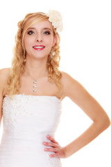 Wedding. Young attractive romantic bride woman