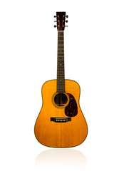 Classical brown acoustic guitar