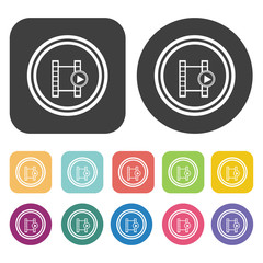 Video sign symbol icons set. Round and rectangle colourful 12 bu
