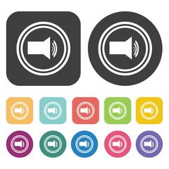 Sound symbol icon. Video sign symbol icons set. Round and rectan