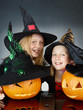 ������, ������: Cute witches with pumpkins in the dark