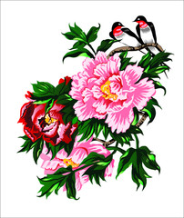 Китайские пионы и птицы