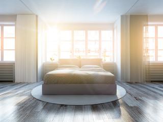 Weiträumiges schlafzimmer in der morgensonne