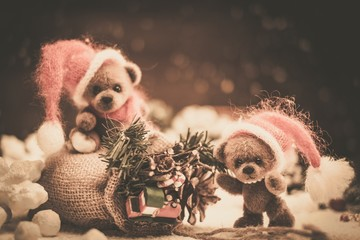 Small toy bears with christmas sack