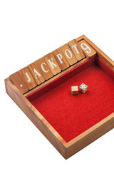 Wooden dice jackpot board game