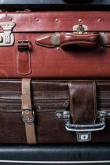 ile of old vintage bag suitcases
