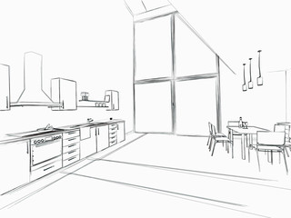 Skizze Küche groß