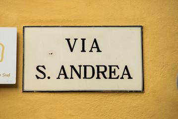 Targa Indicazione Via Sant' Andrea, Strada, Pisa