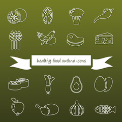 healthy food outline icons