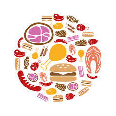 meat icons in circle