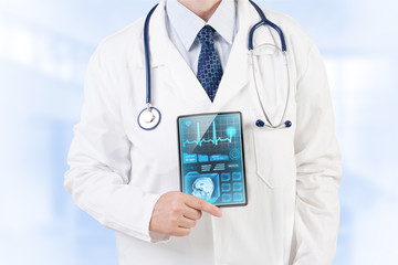 Doctor with medical analysis on tablet