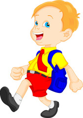 funny school boy with bag