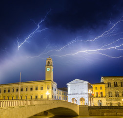 Storm in Pisa. View of City Hall tower