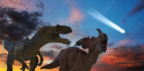 Leinwandbild Motiv Allosaurus and Styracosaurus Battle as the Comet Approaches