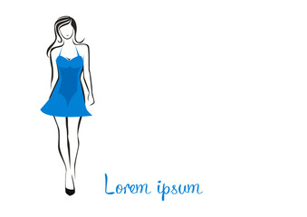 Fashion woman in a blue dress logo vector illustration