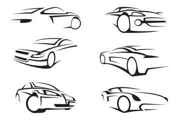 set of six monochrome cars