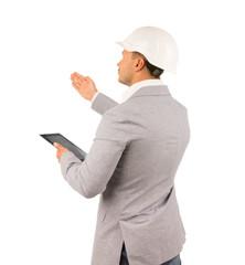 Architect or engineer showing something
