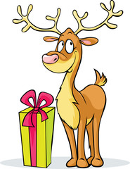 funny reindeer and gift - vector illustration isolated
