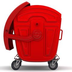 Открытый красный мусорный контейнер. Вид сбоку