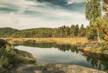 Autumn lake in Norway