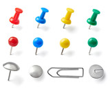 Fototapety push pin thumbtack paper clip office business