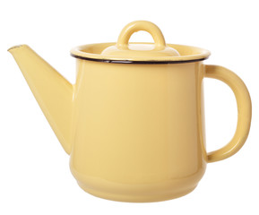 small yellow enameled coffee pot
