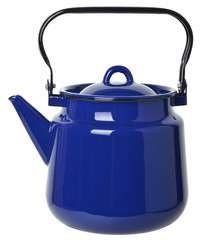 dark blue enamelled  teapot isolated on white background