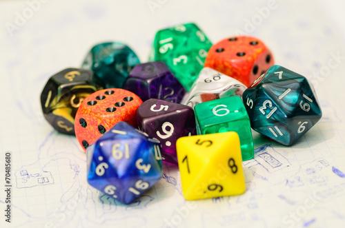 Leinwandbild Motiv role playing dices lying on sketch map - stock photo