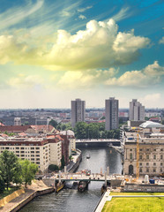 Aerial view of Berlin and Spree River in a beautiful summer day