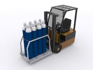 Gabelstapler mit Palette voller Gasflaschen