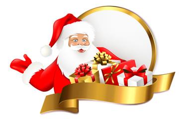 Weihnachtsmann mit Geschenken - Signet Gold