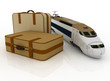 Suitcases and train. conception of journey on a railway