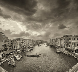 Buildings and Gondolas in Venice, Grand Canal view from Rialto B