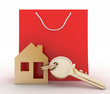 3d model house symbol set with key and paper shopping bag