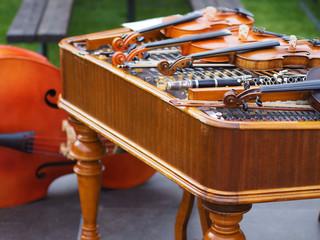 Dulcimer, violins and contrabass