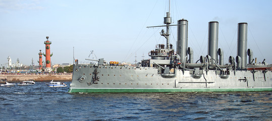 Aurora cruiser transported for repair