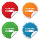 Coming soon icon. Promotion announcement symbol. poster