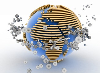 Globe with molecules. 3d abstract background