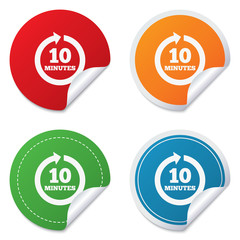 Every 10 minutes sign icon. Full rotation arrow.