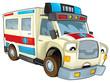 Cartoon ambulance - illustration for the children