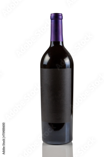 Staande foto Wijn Single Red Wine Bottle on White